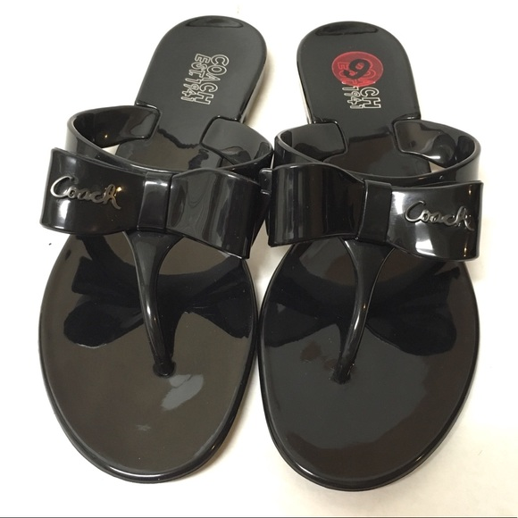 2448442dbb4ca4 Coach Shoes - Authentic Coach Pretty black jelly bow sandals 6